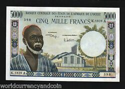 West African States Ivory Coast 5000 5,000 Francs P104 Ah 1977 Unc Rare Was Note