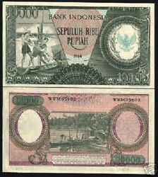 Indonesia 10000 Rupiah P101b 1964 Unc Water Buffalo Rare Currency Money Banknote