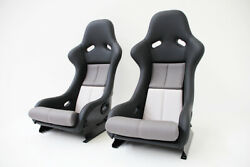 Pair Seats In Racing Style Porsche 911964 And 993 Grey White Leather Left Right