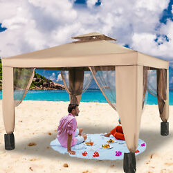 Vevor 10x10ft Outdoor 2-tier Top Folding Portable Gazebo Vented Awning W/netting