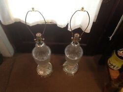 """Old Pair 2 Vintage Heyco Crystal Glass 30""""tall Table Lamps Mid Century No Shades"""