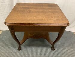 Antique Quartered Oak Wood Claw Foot Library Desk Table