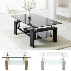 Modern Rectangle Cocktail Coffee Table Glass amp; Wood Living Room With Lower Shelf