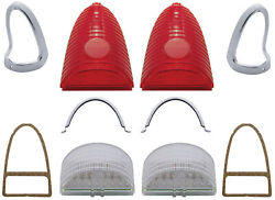 1955 Chevy Belair 210 150 Nomad Complete Led Taillight Assembly Set