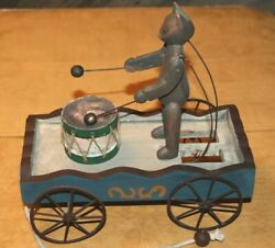 Bear Drumming Pull Toy Wood And Metal Wagon... Old Fashion Looking Toy