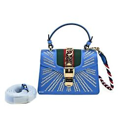 New Authentic Mini Sylvie Crystal Satin And Leather Shoulder Bag