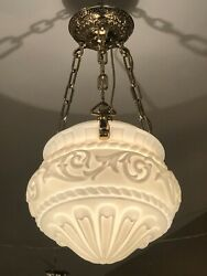"""Victorian Brass And Glass Hanging Hall Light 24"""" X 14"""""""