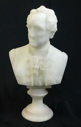 Antique Carved Stone Alabaster Bust Of A Gentleman Turn Of The Century 2 Parts
