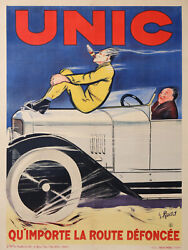 Rudd Unic Car No Matter How Far Down The Road Cigare Original Vintage Poster