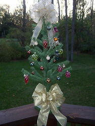 Vtg Nice Feather Bottle Brush Tree Style Green 30decorated Tabletop Xmas Tree