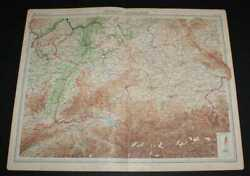 Map Of Germany - Southern Section From 1920 Times Survey Atlas Plate 39
