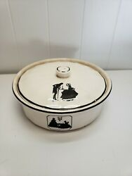 Hotoven By Harker Pottery Covered Casserole White And Black Colonial Americana