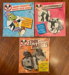 Vintage 1975 3 Sealed Disney Mickey Mouse Club 45 Rpm Records