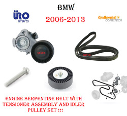 Bmw Belt Tensioner Assembly With Idler Pulley And Drive Belt For E88 E90 E60 X3 X5