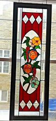 Vintage Stained Glass Window In Wood Frame Handmade 53 X 17.5