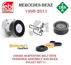 Mercedes Belt Tensioner Assembly W/ Idler Pulley And Drive Belt C Clk Cls E G Ml S