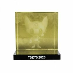 Tokyo 2020 Olympic Mascot Miraitowa 3d Crystal Gold Official Licensed Goods