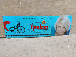Vintage Tin Sign Neelam Bicycle And Rickshaw Kit Lady Print Automobile Collectable