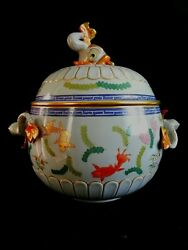 Herend Soup Tureen Fishes Poisson Pattern With Dolphin Knob