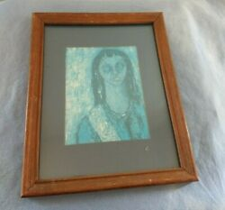 157 M Ardon The Girl In Blue Fine Matted Print Harvey Hutter And Co. 9 X 11 Frame