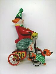 Vintage Ussr Tin Toy Leningrad Clown Bicycle Big 22cm Wind Up Toy Of 60's.rare