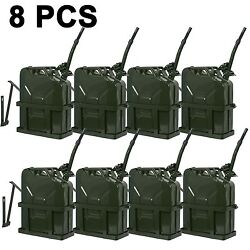 8pcs 5gallon 20l Jerry Can Fuel Tank W/ Holder Steel Army Backup Military Green
