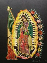 Signed Straw Art By Arturo Hernandez, Our Lady Of Guadalupe And Mexican Flag