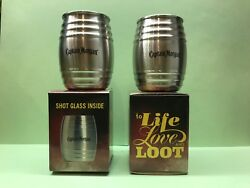 Brand New - Set Of 2 Captain Morgan To Life Love And Loot Ss Barrel Shot Glasses