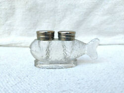 Antique Rare 2 Compartments Fish Shape Clear Glass Inkwell Ink Pot Collectable
