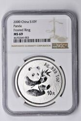 2000 China Silver 10 Yuan Ngc Ms 69 Panda Frosted Ring Witter Coin