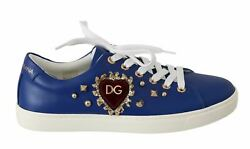 Dolceandgabbana Women Sneakers Low Top Lace Up Blue Leather Heart Trainers Shoes