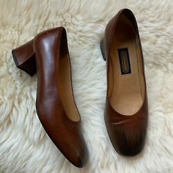 ❤️Lovely Coach Cognac Ombre Brown Pump High Heel Chunky Made in Italy 5.5B $55.00
