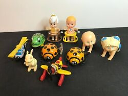 Vintage Windup And Tin Toys Lot - Lady Bugs Cabbage Patch Flinstones Frog Airplane