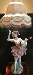 Vintage Italian Porcelain Lady Roses Figurine Lamp By Augusto Ferrando Numbered