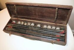 Large Lot Antique Complete 1925 Ice Fishing Pole Wooden Box Set Rod Reel Tip-ups