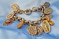 Vintage Charm Bracelet Silver Metal Religious Medal And Medallions