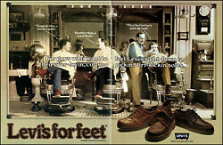 1978 Barber Shop Shave Levi's for Feet shoes 3 chair vintage photo print ad ads7