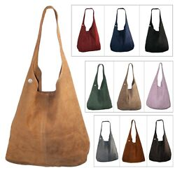Suede Hobo Bags Handbag Shoulder Bag Slouch Italian Leather Women Bags Zipper $67.99