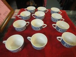 12 Lot Currier And Ives Blue Royal China Coffee Tea Mug Cup Woman Horse Carriage