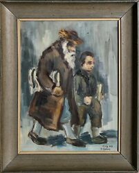 David Gilboa, One Of The Last Kabbalists Of Safed, Oil On Canvas, Signed L.r.