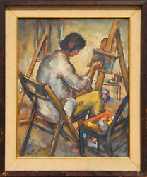 George R. Imhof, Artist At The Easel, Oil On Board, Signed L.l.
