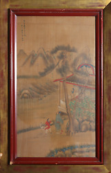 Unknown, Chinese, Family With Crane By Mountains, Gouache On Board