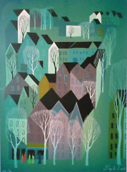 Eyvind Earle, Village, Screenprint, Signed And Numbered In Pencil