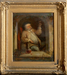 C. Waller, Portrait Of A Man Toasting With Wine, Oil On Board, Signed