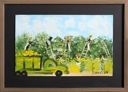 Ernest Lee Apple Pickers Acrylic On Board Signed