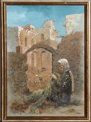 William Weintraub, Woman And Village, Gouache On Paper, Signed And Dated