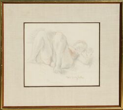 Moses Soyer Reclining Nude Pastel On Paper Signed