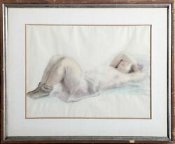 Raphael Soyer Odalisque I Pastel And Watercolor On Paper Signed
