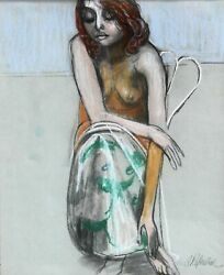 Anton Refregier Seated Girl Pastel On Paper Signed