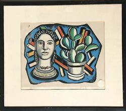 Fernand Leger, Head And Plant, Screenprint, Signed And Numbered In Pencil